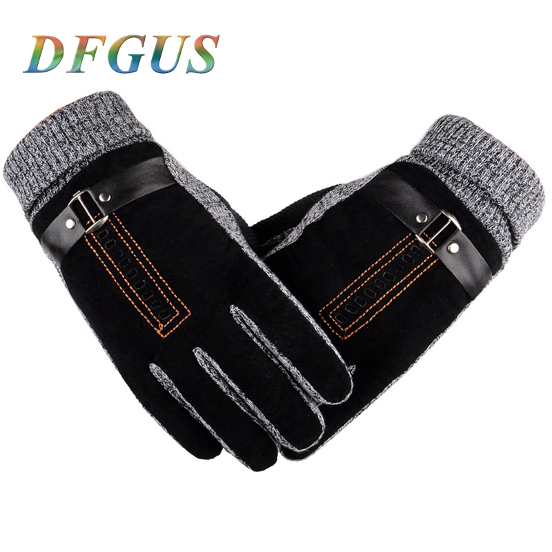 2017 Men's Warm Winter Gloves Genuine Leather Gloves Suede Mittens Male Thick Thermal Leather Gloves Men Knitted Winter Guantes