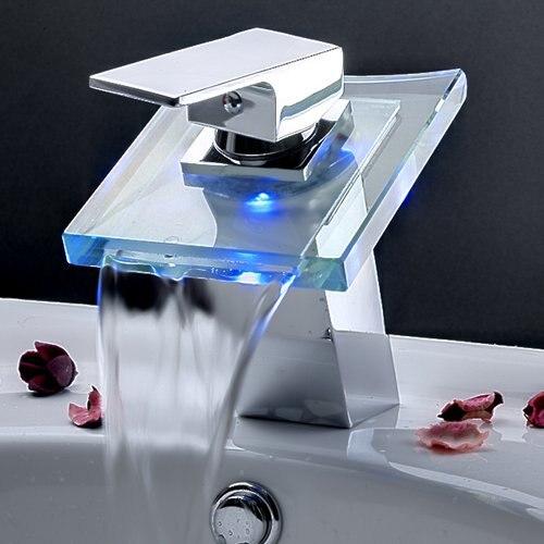 GSFY- Modern Single Handle Waterfall Bathroom Vanity Vessel Sink LED Faucet, Chrome