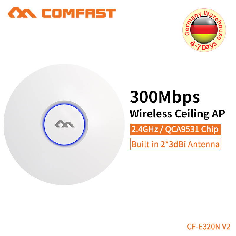 Comfast Wireless AP 300Mbps Router Ceiling AP 802.11b/g/n Indoor AP 48V POE Power 16 Flash WiFi Point Access CF-E320NV2