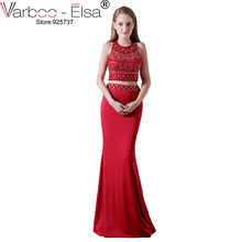 21ca4df71e VARBOO ELSA 2018 Luxury Crystal Beaded Mermaid Evening Dress Red Satin Long  Prom Dress 2 Piece Sexy Hollow Out Graduation Dress