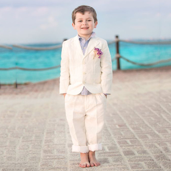 Beige Boys Suits 2019 for Beach Wedding Kids Blazer Notched Child Groom Tuxedos 3 Pieces (Jacket+Pants+Vest) Boys Formal Wear jacket vest pants shirt bow tie boy slim fit suits plus size 3 14t boys gray wedding suits with pants business boys formal wear