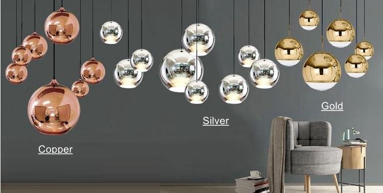 Moderne Lampen 96 : Lukloy moderne dixon spiegel glas ball anhänger licht kupfer