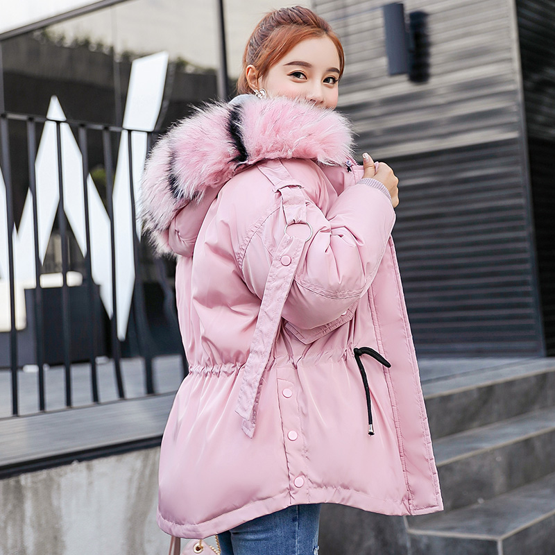 Winter   Parkas   Women 2018 New thicken Warm Jacket Coat Casual big fur collar hooded outwear Collect waist   Parka   coat M-2XL