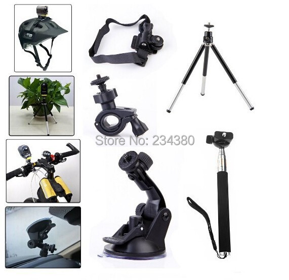 5in11set Helmet Kit Bike Monopod + Bike Handlebar Mount + Suction Cup Mount for Sony Action Cam HDR AZ1 AS20 AS100V AS30V AS15