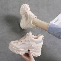 Women's Hidden Heel Sneakers Breathable Mesh 2019 Summer White Shoes Platform Sneakers High Heels Woman Vulcanize Shoes Sneaker