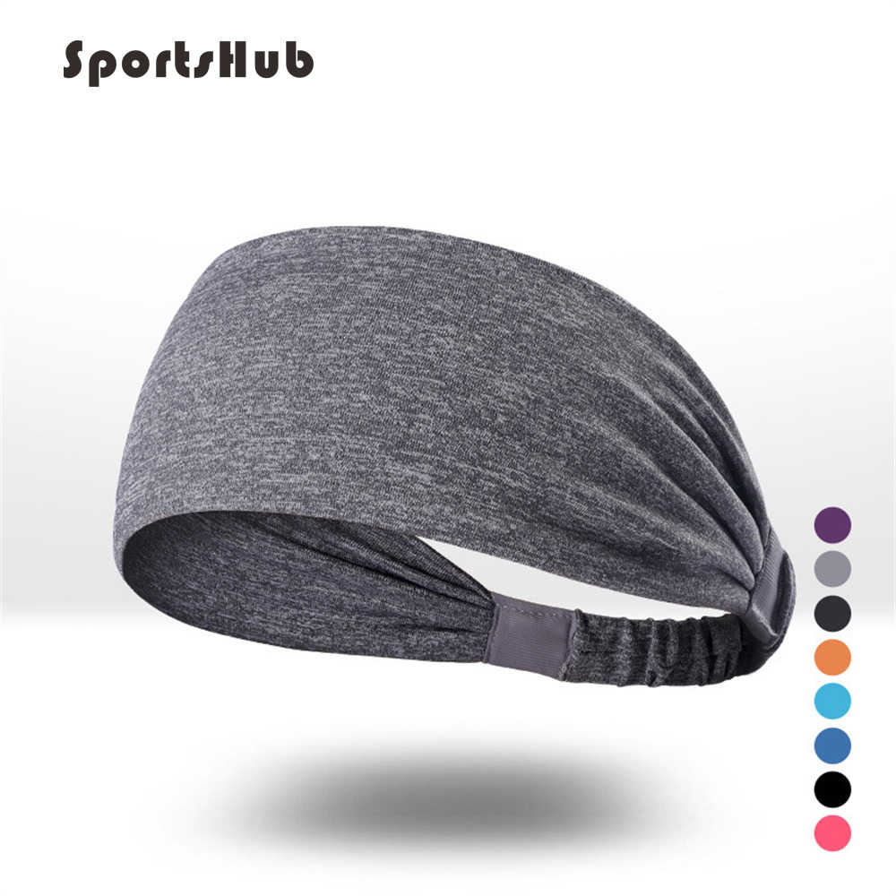 SPORTSHUB Women's Yoga Hair Band sports Headband Men Knotted Turban Head Warp Hair Band Wide Elastic Yoga Sport Headband NR0120