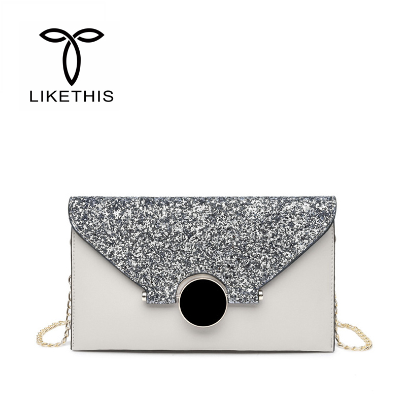 Clutch Bags Luxury Messenger Bag Solid Color Twinkle Female Fashion Brand Design Lady Gold Evening Bag Crossbody Bags for Women concise nylon and solid color design crossbody bag for women