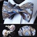 Bolso praça do partido clássico casamento BZP11B azul Brown Paisley homens de seda auto Bow Tie lenço abotoaduras set