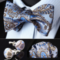 Pocket Square Classic Party Wedding BZP11B Blue Brown Paisley Men Silk Self Bow Tie handkerchief Cufflinks set
