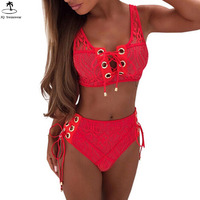 Womens Floral Lace Up Solid Cross Bikini High Waist Strappy Bandage Swimsuit For Women Swimsuit Sexy