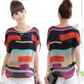 Free Shipping 2015 fashion Women Top Striped Design Chiffon Casual femininas Plus Size