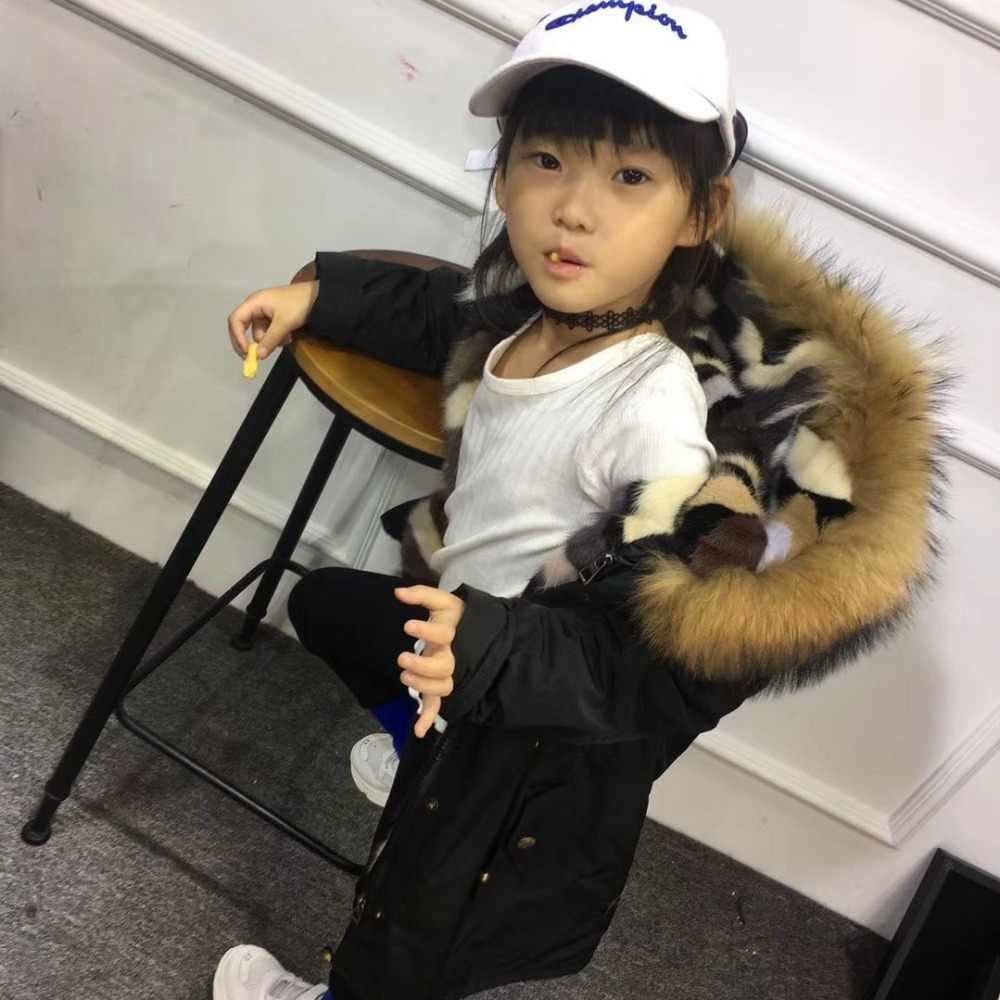 ab809f2f52d6c ... Boys Girls Fur Jacket Children Mink Liner Coat Real Raccoon Fur Hooded Girls  Jacket Winter Warm ...
