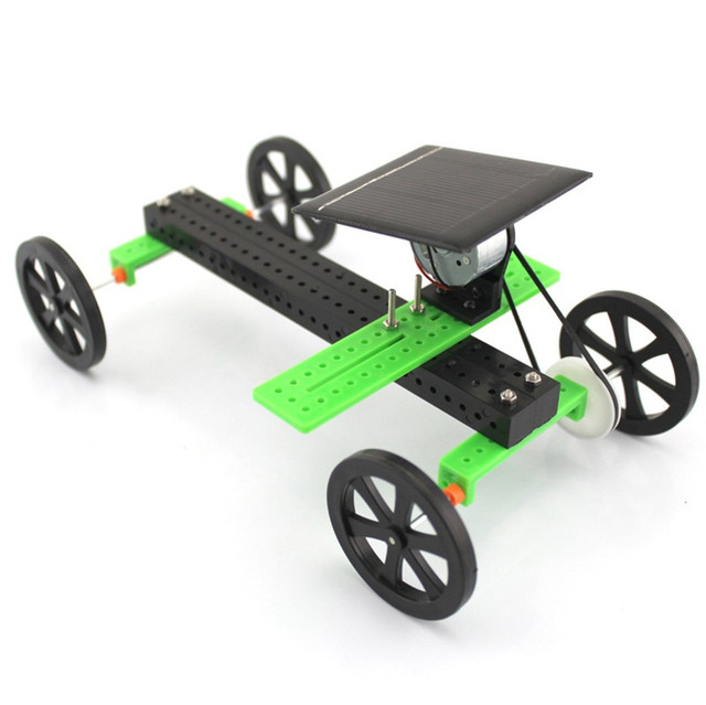 1 Set Mini Solar Powered Toy DIY Car Kit Children Educational Gadget Hobby Funny solar power system toys fingerboard wheels 1
