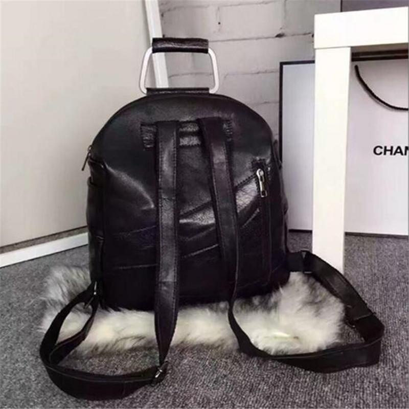Mode Han Style haute qualité personnalité Rivet étudiant Double sacs à bandoulière Punk multifonction noir voyage femmes sacs à dos - 4