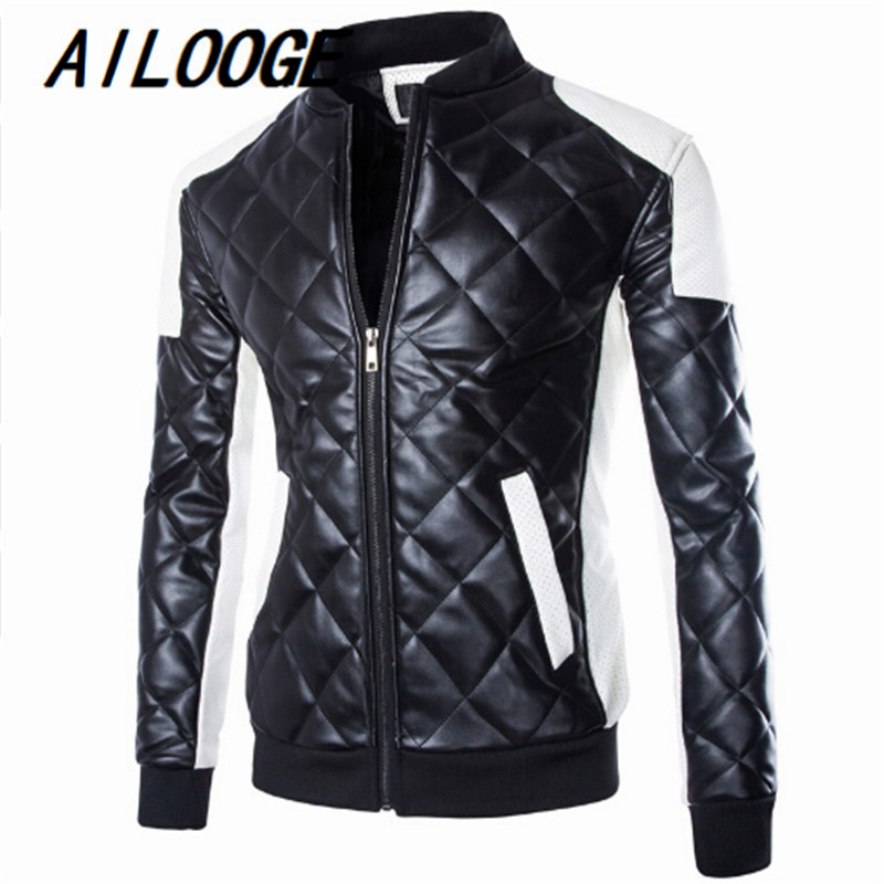 Mens Quilted Leather Jackets Coats White Black Contrast Shoulder Patch Bomber Motorcycle Jackets Men Winter Big Size Outerwear