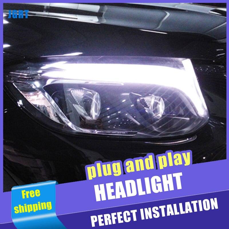 2 pièces voiture Style LED phares pour Benz AMG GLC 2008-2013 pour GLC lampe frontale LED DRL lentille Double faisceau H7 caché xénon bi xénon lentille