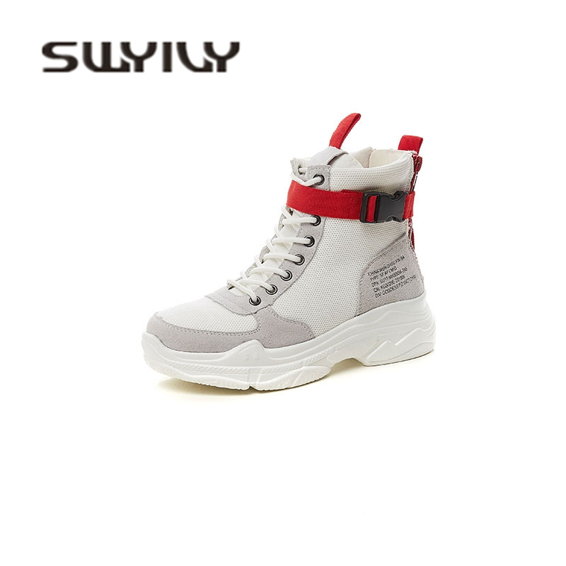 SWYIVY Ankle Boots Woman Buckle Autumn 2018 Breathable College Student Casual Shoes Ins Hot Sale Platform Sneakres Ankle Boots
