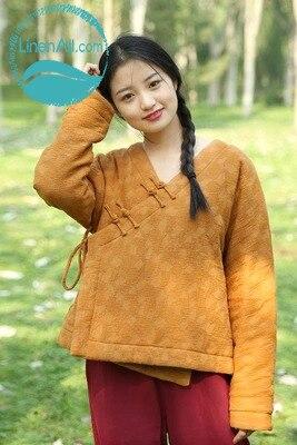 35linenall 100Leinen Us139 Mantel Linenall Zi Frauen Steppjacke Jacquard Kurz Retro Neue Baumwolle Kleidung In JackenGelb Winter Cotton Padded xQrCeWdBo