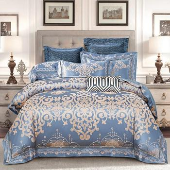 Фиолетовый, синий, роскошный Шелковый атласный комплект постельного белья, Королевский размер, Комплект постельного белья из хлопка, прост...
