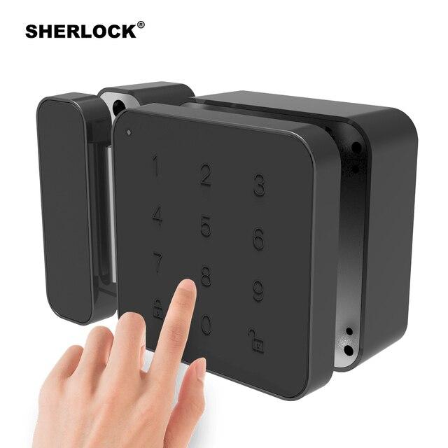 シャーロックパスワードドアロックデジタル電気スマートロックbluetoothアプリ電話制御G1 ロックオフィスガラスドアなど