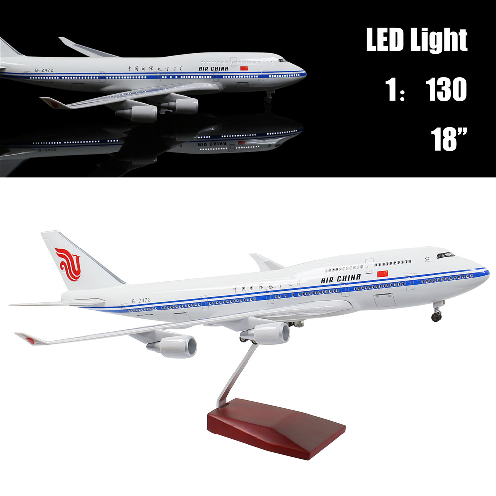 46M 1:130 Airplane Model Air China Boeing 747 with LED Light(Touch or Sound Control) Plane for Decoration or Gift