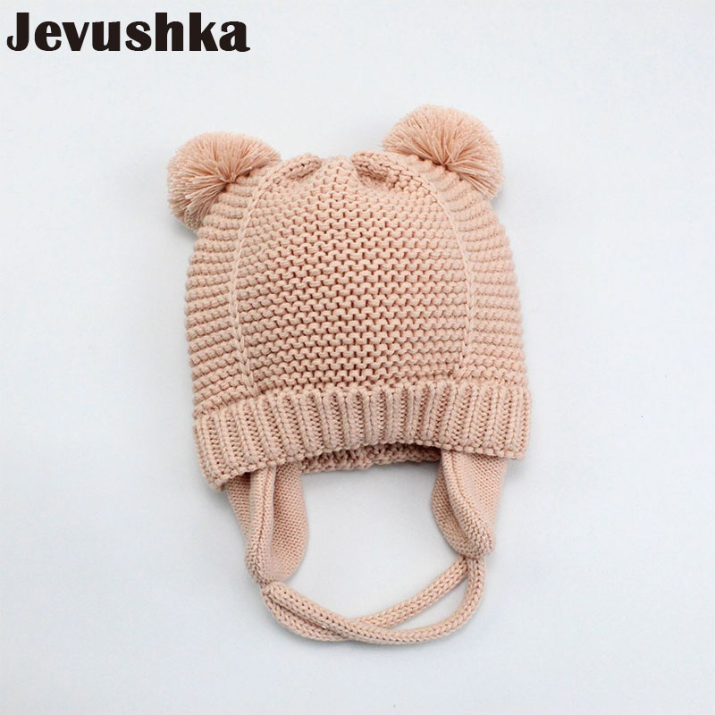 Winter pompom baby hat for kids girl boy hats knitted beanie skullies boy bomber caps with fleece lining newborn photograp HT044 autumn winter beanie fur hat knitted wool cap with silver fox fur pompom skullies caps ladies knit winter hats for women beanies page 6