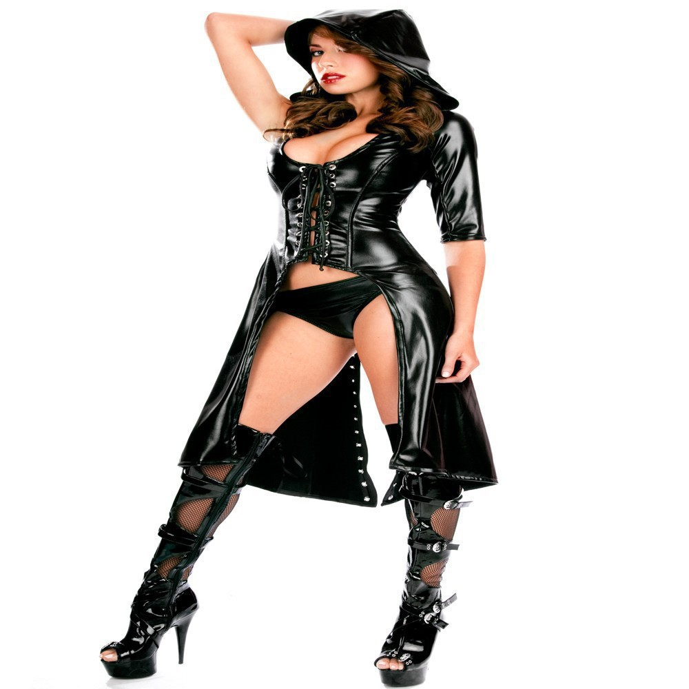 Fauz Leather Latex Dance Dress Punk sexy NightClub Dance Clothes Erotic Club Dress Ladygaga Pole Dance Lingerie sexy