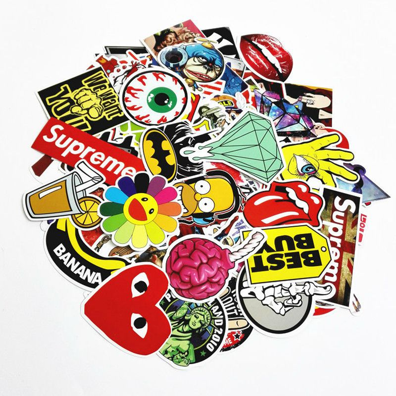200Pcs Mixed Cartoon Random Color Waterproof Doodle Stickers For Snowboard Luggage Laptop Decal Toys Bike Car Motorcycle Phone