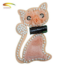 Big bead brooch chiffon flower fur cat patches applique vintage patch sew on fashion clothing bag decoration