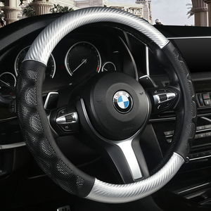 KKYSYELVA Stering-wheel черный кожаный чехол рулевого колеса автомобиля 38 см крышка колеса чехлы на руль аксессуары для интерьера