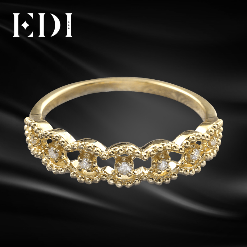 EDI Stackable Band Ring 14k Yellow Gold CZ Ring 585 Solid Gold Simulated Diamond Infinity Ring Dainty Ring Wedding Band To Women solid gold heart ring band elegant women ring