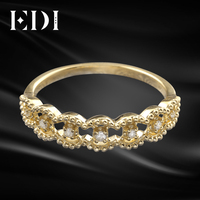 EDI Stackable Band Ring 14k Yellow Gold CZ Ring 585 Solid Gold Simulated Diamond Infinity Ring Dainty Ring Wedding Band To Women