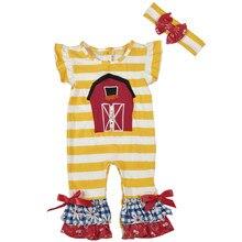 54cf3df563 Bodysuits Do Bebê recém-nascido de Algodão Shorts Mangas Ruffle Macacões  Infantis Roupas Boutique Meninas