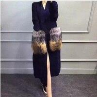 Из натуральной норки кашемировый свитер для женщин длинный вязаный норковый свитер кардиганы для silver fox Мех животных 008