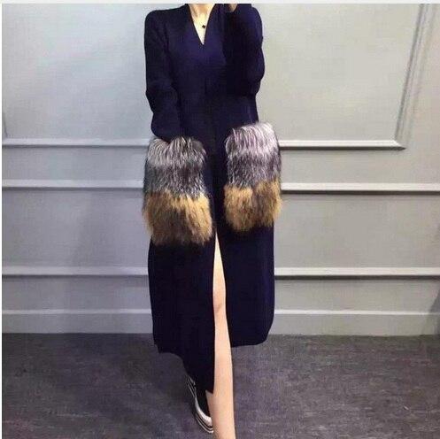 Genuine visone maglione di cachemire delle donne lungo visone lavorato a maglia maglione cardigan La argento pelliccia di volpe 008