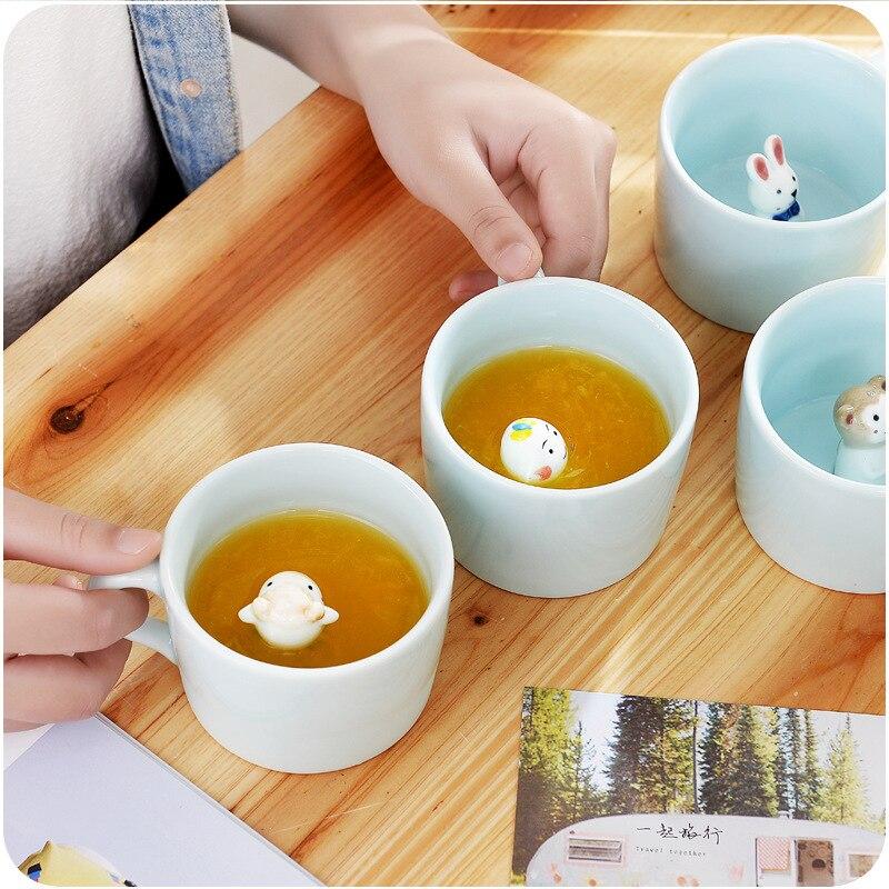 230ML Ceramic 3D Creative Small Milk Mug Animals Cute Cartoon Cat Panda Coffee Cup Heat-resistant Celadon Cup Nice Gift