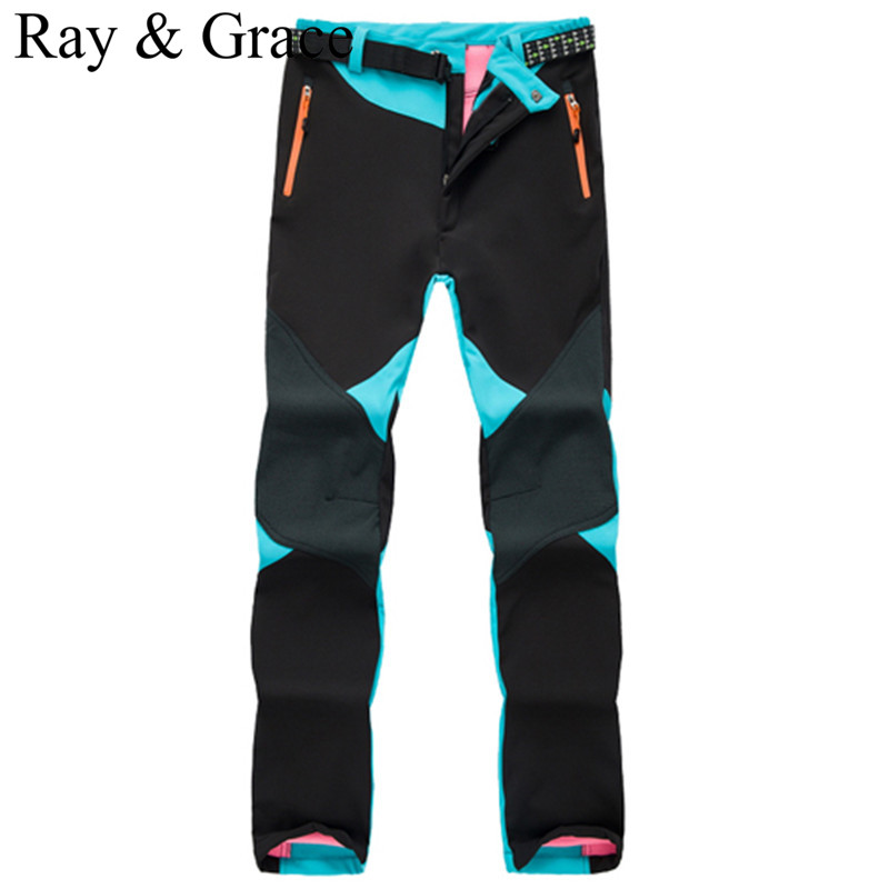 ФОТО Winter Waterproof Windproof Outdoor Hiking Camping Trekking Softshell Fleece Pants Women Patchwork Mount Climbing Pants