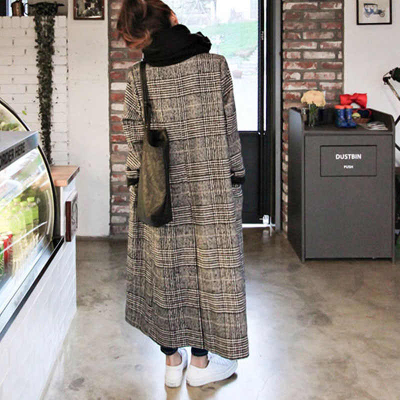 2019 mode Frühling Winter Frauen Kaschmir Blends Plaid Kokon Mantel Femal Warme Starke Lange Lose Modische Oberbekleidung Mäntel frau