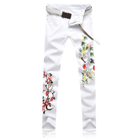 New 2018 Autumn Men`s Embroidery Rock Jeans Punk Style Gothic Cotton Straight Leg Cool Jeans For Young Men