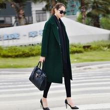 2017 New Winter Women 90% Wool Coats Jackets Office Lady Thicken Warm Long Loose Wool Coat Oversize Wool & Blends J16DD0439