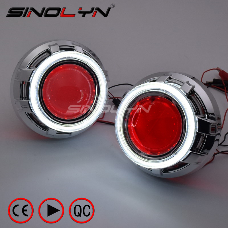 SINOLYN LED DRL Angel Eyes Devil Eye 3 0 Car Projector Lens Bi Xenon Headlight For