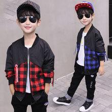 cc843080fc208 Garçon vestes et manteau 2018 nouvelle mode à manches longues Plaid Outwear  adolescent enfants vêtements 7