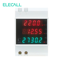ELECALL D52-2047 DIN Rail Digital Power Meter Energy Meter AC80-300V Voltmeter AC 0-100A Ammeter