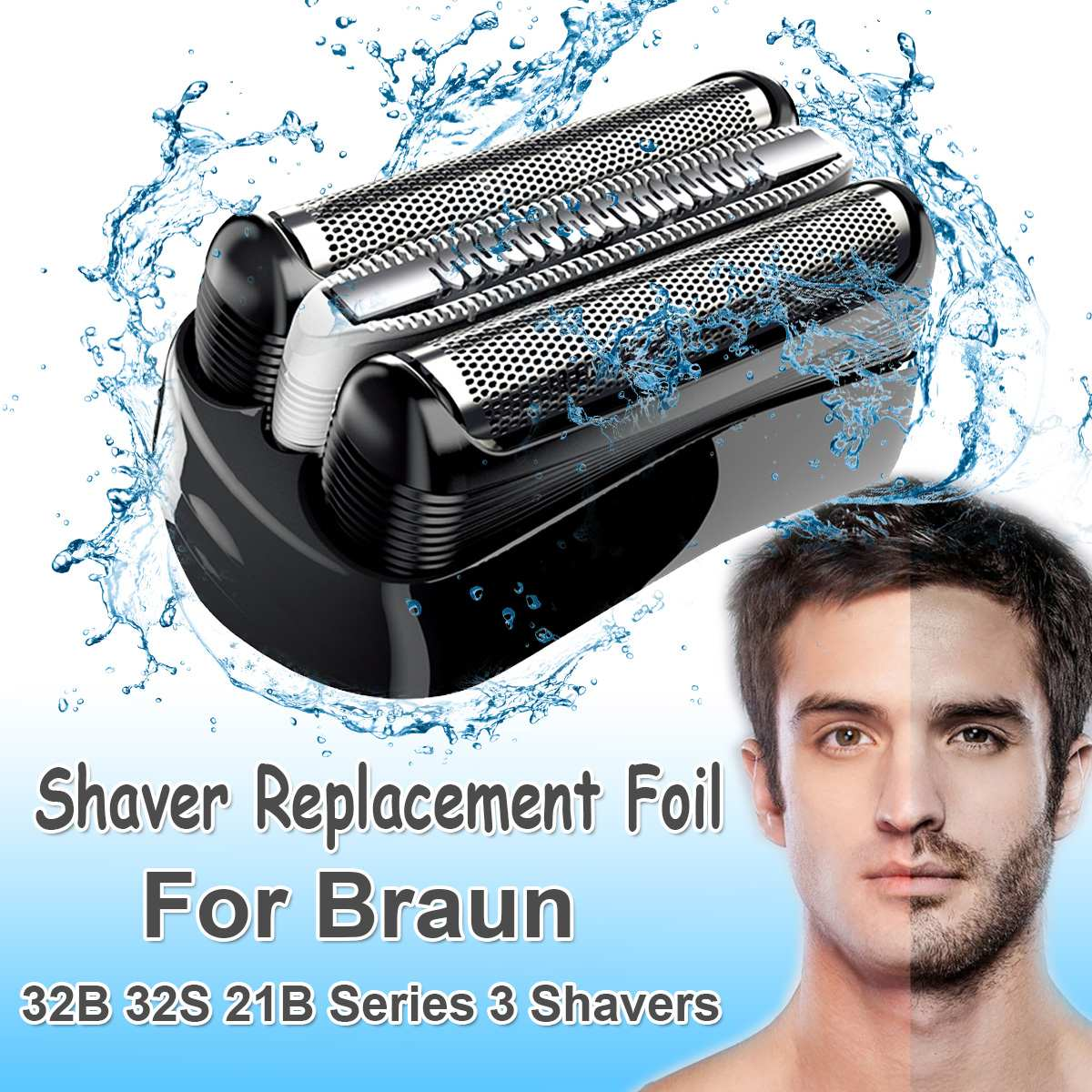 Replacement Shaver Foil Head for Braun 32B 32S 21B Series 3 301S 310S 320S 360S 3000S