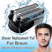 Replacement Shaver Foil Head for Braun 32B 32S 21B Series 3 301S 310S 320S 360S 3000S 3010S 3020S 350CC for Cruzer6 Blade Head