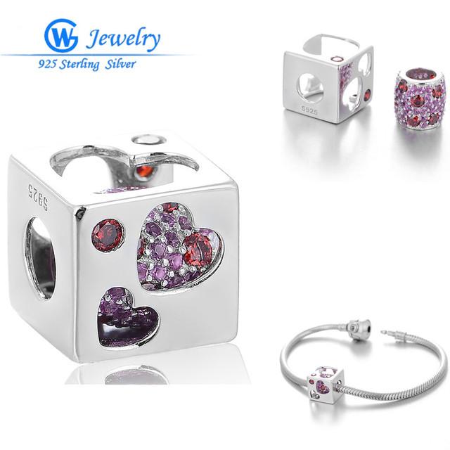 925 de plata encantadora bolas de circonia corazón encantos ajuste bolas pulsera 925 joyería de plata esterlina al por mayor gw fine jewelry x393h20