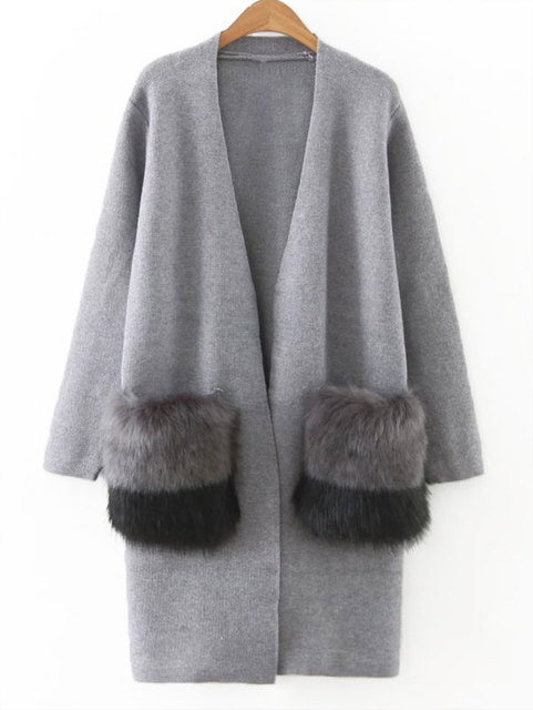 Wipalo Faux Fur Pockets Open Front Cardigan Winter Women Knitted