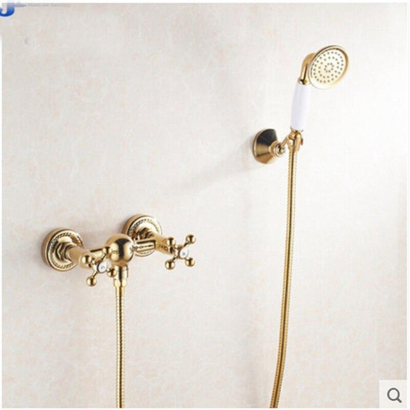 Wall Mounted Golden Plate Bathroom Shower Faucet W/ Hand Shower Sprayer Mixer sognare new wall mounted bathroom bath shower faucet with handheld shower head chrome finish shower faucet set mixer tap d5205