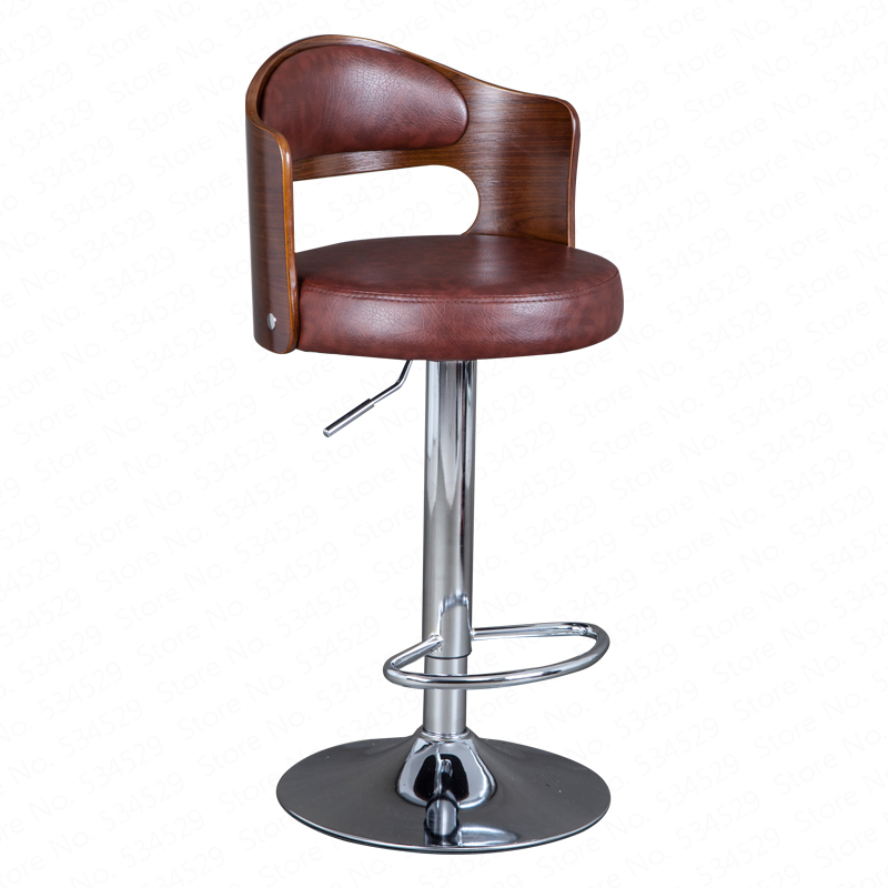 B Solid Wood Bar Stool European Bar Stool Home Retro Backrest Lift Rotating High Stool Front Desk Cashier Bar Chair