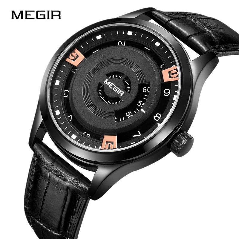 MEGIR hommes montre Unique montre créative hommes étanche en cuir bande Quartz mode montres bracelet Relogio Masculino Reloj Hombre